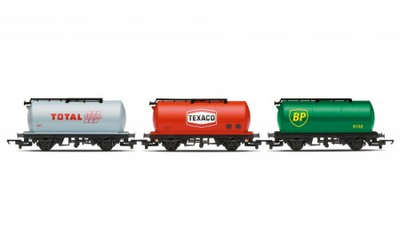 Hornby Railroad Fuel Tanker BP, Texaco and Total – (3 stk. Tankvogner)