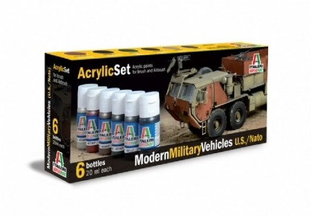 Italeri Arcylic Set Modern Military Vehicles US/Nato (6stk. 20ml)