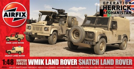 Airfix Byggesett 1/48 British Forces WMIK Land Rover and Snatch Land Rover A06301