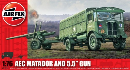 "Airfix byggesett 1/76 AEC Matador and 5.5"" Gun A01314"