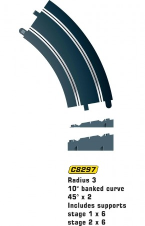 Scalextric Rad 3 Banked Curve 45° (2stk)