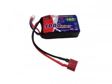 7.4V Li-Po 1000mah 15C T-Deans For FMS Fly 800mm