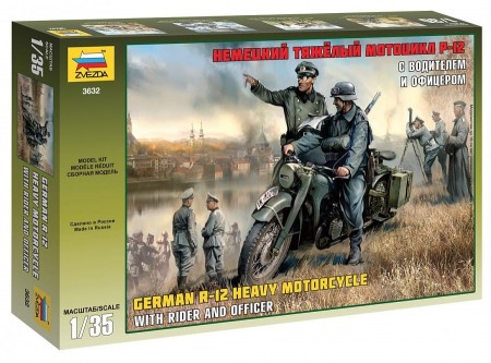 Zvezda 1/35 German BMW R-12 with Rider and Officer