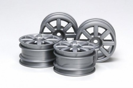 51334 Tamiya M-Chassis Flat 8-Spoke Wheels Silver 4 stk.