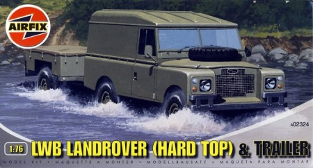 Airfix plastbyggesett 1/76 LWB Land Rover and Trailer (Hard Top) A02324