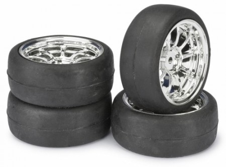 Absima Dekk 1:10 Onroad LP 9 Spoke/Slick Chrome (4 stk.)