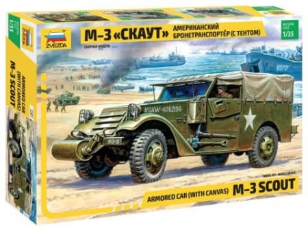 Zvezda 1/35 M-3 Armored Scout Car with Canvas