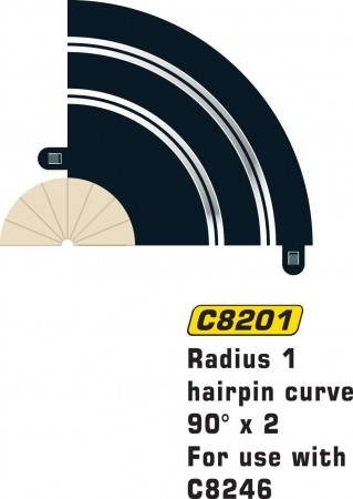 Scalextric Rad 1 Hairpin Curve 90° (2stk) C8201