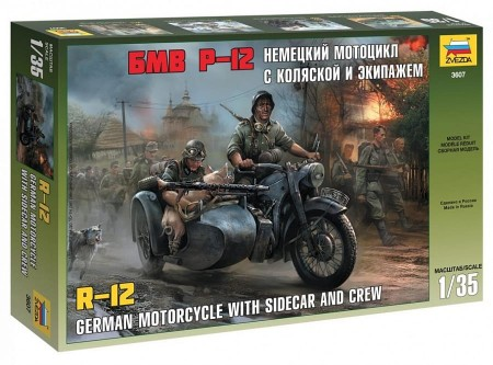 Zvezda 1/35 German Motorcycle with Sidecar and Crew R-12