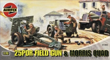 Airfix byggesett 1/76 25PDR Field Gun and Morris Quad A01305
